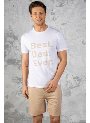 Katia & Bony En iyi Baba Baskılı Erkek şortlu Pijama Takımı - Beyaz Beyaz